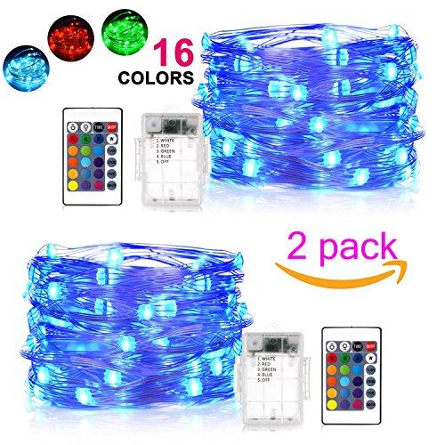 Decorative Lights 2 Pack 16 Colors Changing 50 LEDs Fairy Li