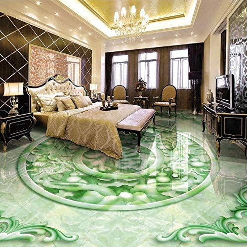 Custom Floor Wallpaper 3D Stereoscopic Jade Relief Lucky Character Chinese Style Floor Mural PVC Self-Adhesive Wallpaper Decor cchpfcc-200X140CM