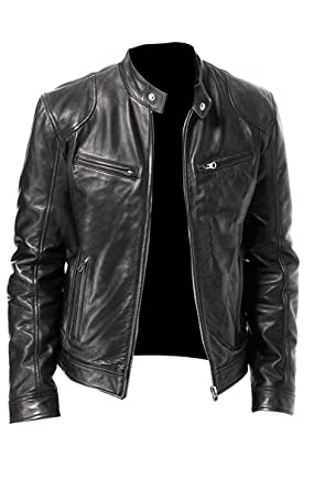 8dff35d28396 Topco Services Men's Vintage Cafe Racer Black Retro Motorcycle Real Biker  Leather Jacket - Best Sell
