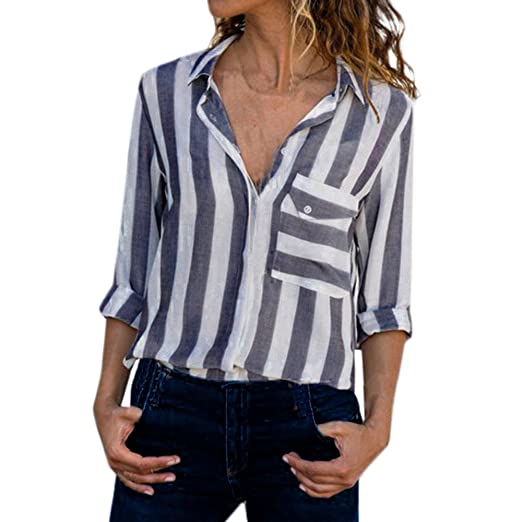 OrchidAmor Women with Pocket Striped Casual Top T Shirt Ladies Loose Long Sleeve Top Blouse Blue