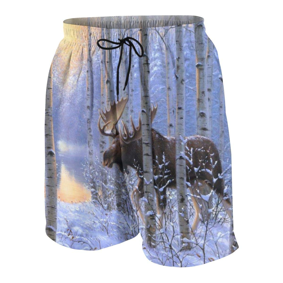 Moose in Birch Forest Winter Teenagers Fashion Quick-Drying Beach Pants