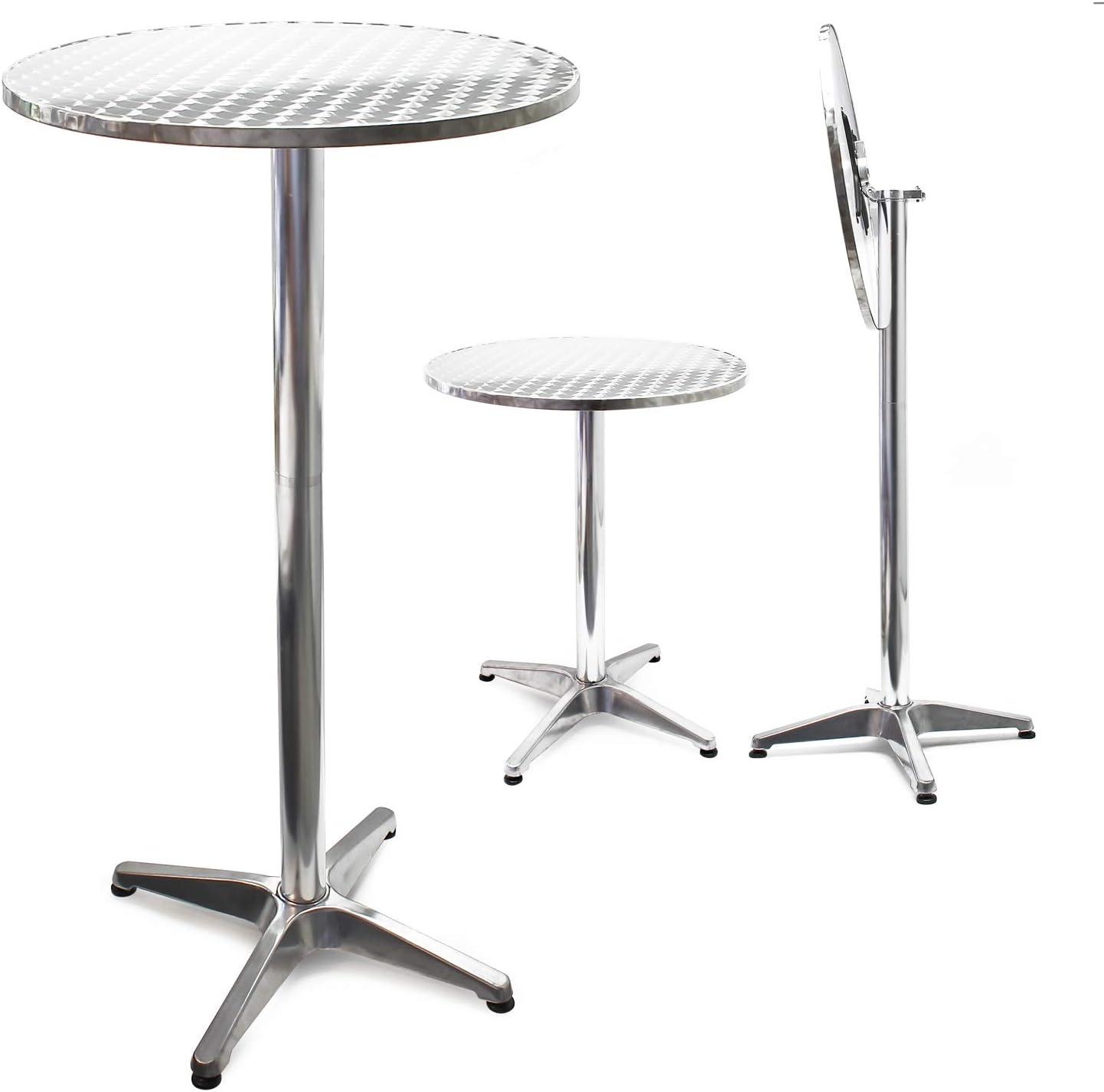 Mesa de bar Bistro Aluminio Plegable Altura regulable 74-114 cm Ø 60 cm Exterior Terraza Hostelería