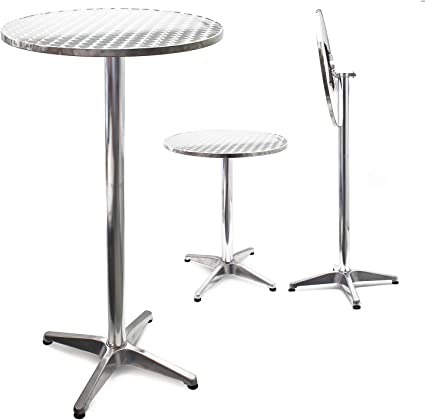 Mesa de bar Bistro Aluminio Plegable Altura regulable 74-114 cm Ø ...