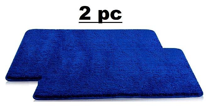 Lukzer 2 PC Microfiber Bath Mat Soft Door Mat Blue 60 cm x 40 cm