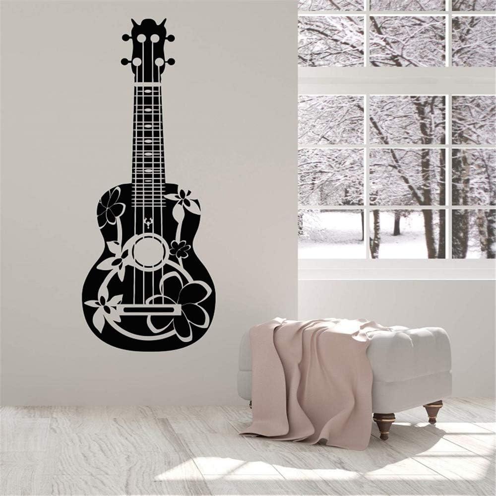 kyprx Apliques de Vinilo Aplique acústico Guitarrista Guitarra músico Cartel Desmontable Arte casero diseño decoración Rojo 42x111cm