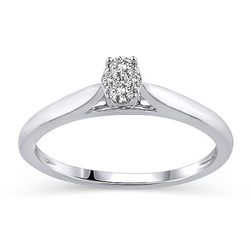 d9e60a528398 Amazon CollectionSolitaire Promesa Anillo de la amistad de diamantes ...