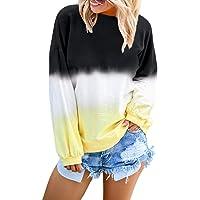 FIYOTE Women Crewneck Pullover Tops Casual Color Block Long Sleeve Lightweight Sweatshirt Blouses S-2XL