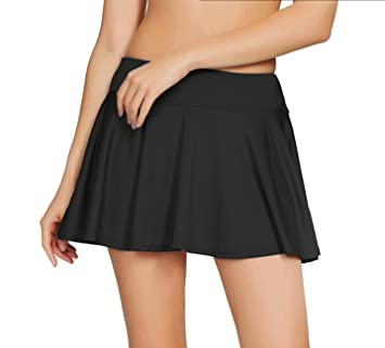 cf7c36f65 HonourSport Women's Pleated Stretchy Tennis Skorts School with Underwear  Covered Golf Skirt Shorts Running Fashion Plus Size Frill Cheerleading 14  16 Wine ...