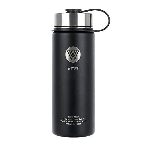 WayEee Botella de Agua Térmica Taza de Viaje Acero Inoxidable Botella Agua Deporte sin BPA Cantimplora Aislada Leakproof para Oficina, Ciclismo, ...