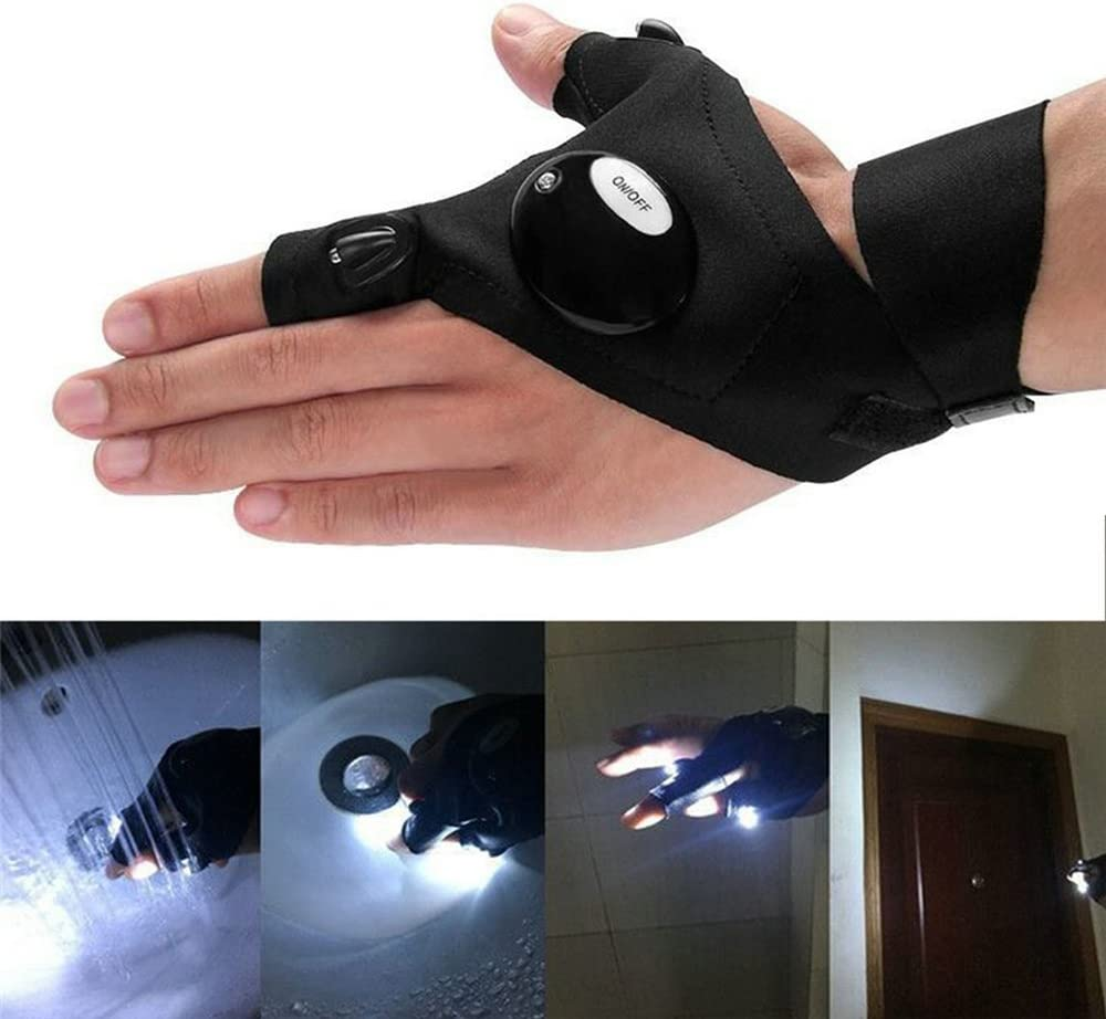 Hiking RexRod Fingerless Outdoor LED Flashlight Gloves Torch Cover for Night Fishing Working and Repairing in Darkness Place Camping