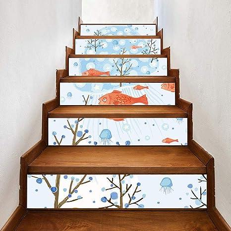 Pegatinas para escaleras, pegatinas 3D de Vibola con dibujos animados y pescado autoadhesivas para muebles para sala de estar, habitación de niños, decoración del hogar, 17,78 x 91,44 cm: Amazon.es: Juguetes y