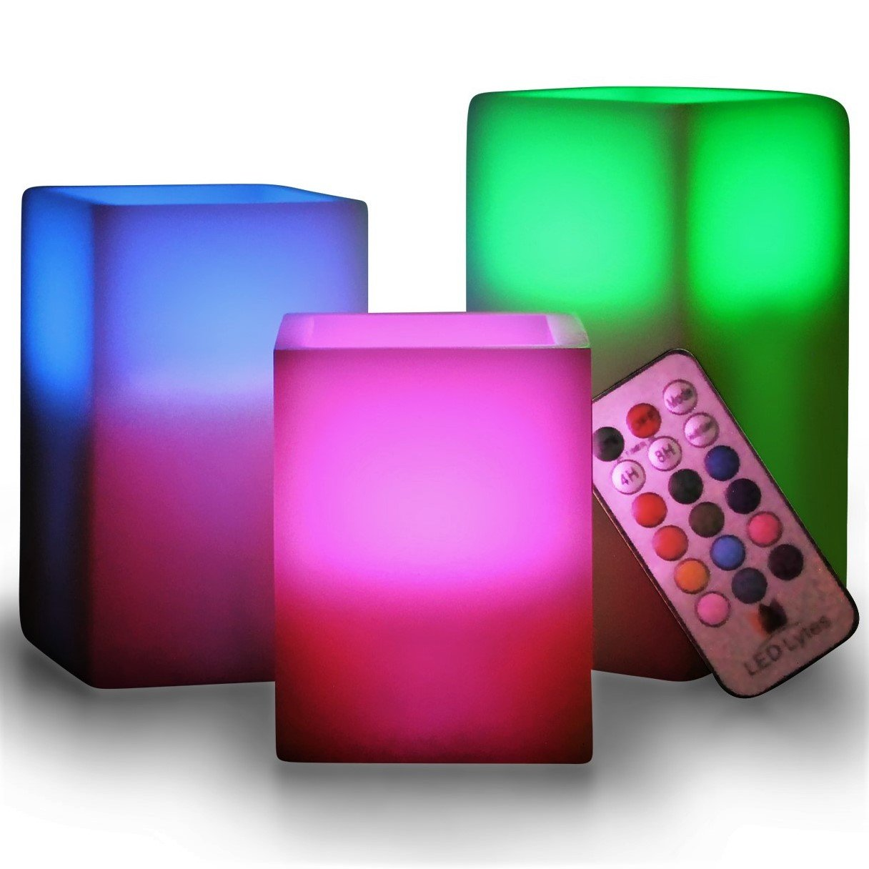 LED Lytes Multicolor Flameless Candles - Set of 3 Square Ivory Wax with Flickering Color Changing Flame, auto-Off Timer Remote Control