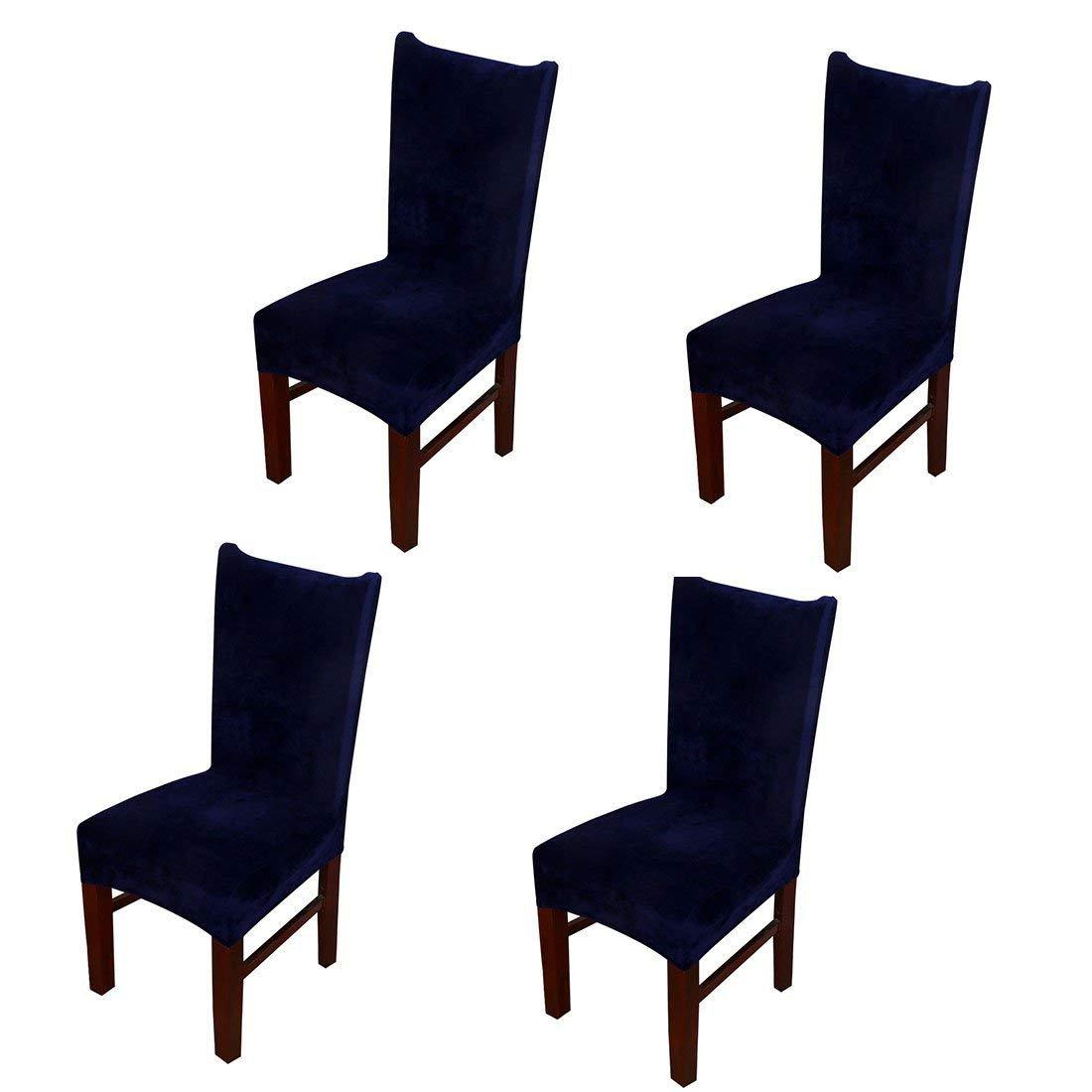 Pinjiストレッチ椅子カバー厚み付けリムーバブルShortダイニングルームプロテクターSeat Slipcover 4Pcs JC0663-5*4/PJUS 4Pcs ネイビーブルー B0761LRZRF