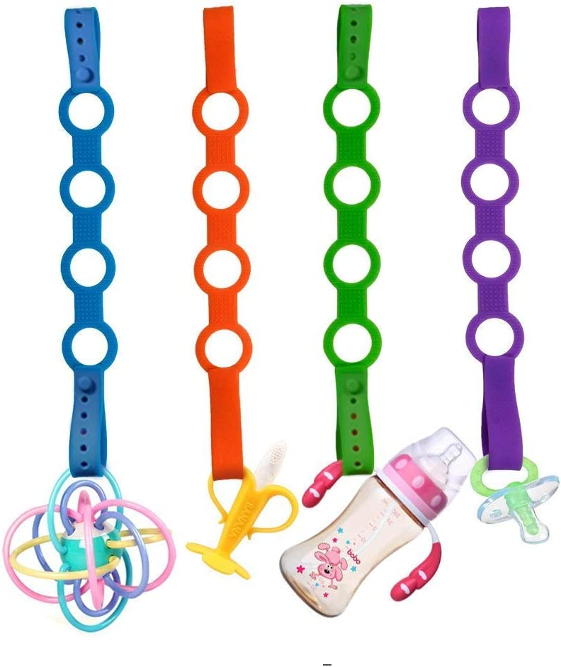 4PK Toy Safety Straps Shopping Trolley,Cars,Hanging Baskets,Cribs,Bags Stretchable Silicone Pacifier Clips Baby Toddler Bottle Toy Harness Straps for Strollers High Chair