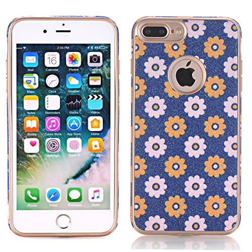 iPhone 7 Plus Case,TechCode Flower Pattern Soft Cover Shell Phone Skin Super Slim Screen Protective Smart Case for Apple iPhone 7 Plus 5.5 inch (iPhone 7 Plus, A10)