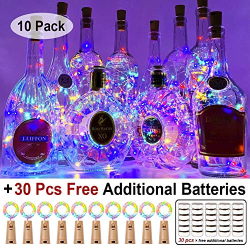 MJMIX 10 Pack 20 Led Wine Bottle Lights with Cork, 3.3ft Silver Wire Cork Lights Battery Operated Fairy Mini String Lights for Liquor Bottles Crafts Party Wedding Halloween Christmas Decor, Colorful -