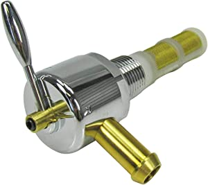 Chrome 1975-2006 Harley Davidson 22mm Filtered HI-Flow Petcock Right 90 Fuel Outlet Shut Off Valve - for Use with 3/8