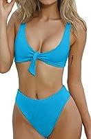 Wannaone Women's High Waist Tie Knot Front 2PCS Bikini Sets Beachwear