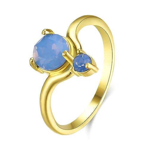 Epinki Chapado en Oro Mujer Azul Zirconia Cúbica Aniversario Nupcial Boda Compromiso Anillo Tamaño 12