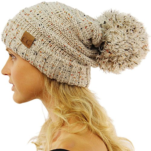 CC Confetti Super Big Slouchy Pom Pom Warm Chunky Stretchy Knit Beanie Hat Oatmeal