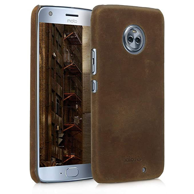 the best attitude 9205b 9a006 kalibri Case for Motorola Moto X4 - Smooth Genuine Leather Hard Case Anti  Slip Protective Back Cover - Brown