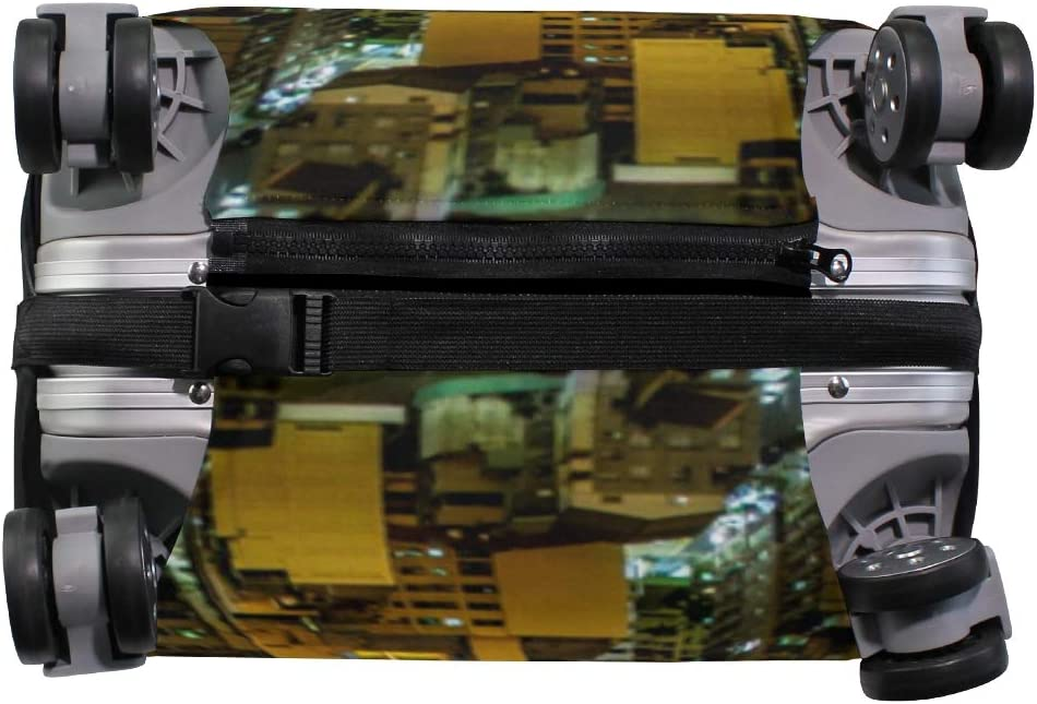 Fits 26-28 Inch Suitcase Protector Luggage Cover Elastic Zip Metropolitan Area Cityscape Urban Skyscr Travel