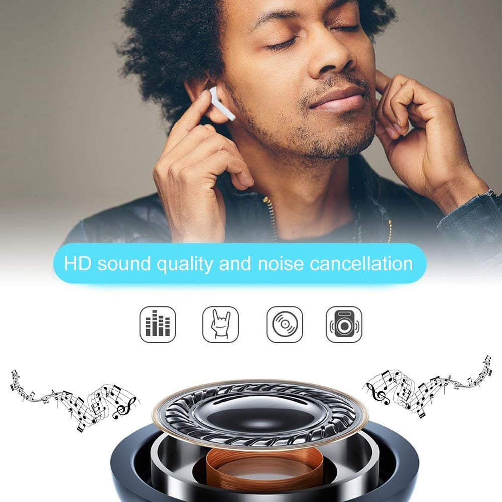 reducci/ón inal/ámbrica de ruido 24 horas de sonido envolvente con sonido real Compatible con tel/éfono inteligente Bluetooth ASXMY Auricular Bluetooth  I8XTWS transparente