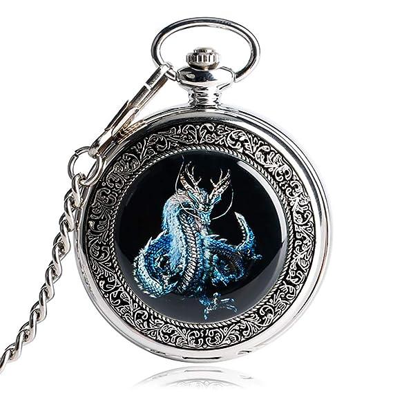 Retro Reloj de Bolsillo, Evil Dragon Mecánico Relojes de Bolsillo, Vintage Plata Steampunk Mano