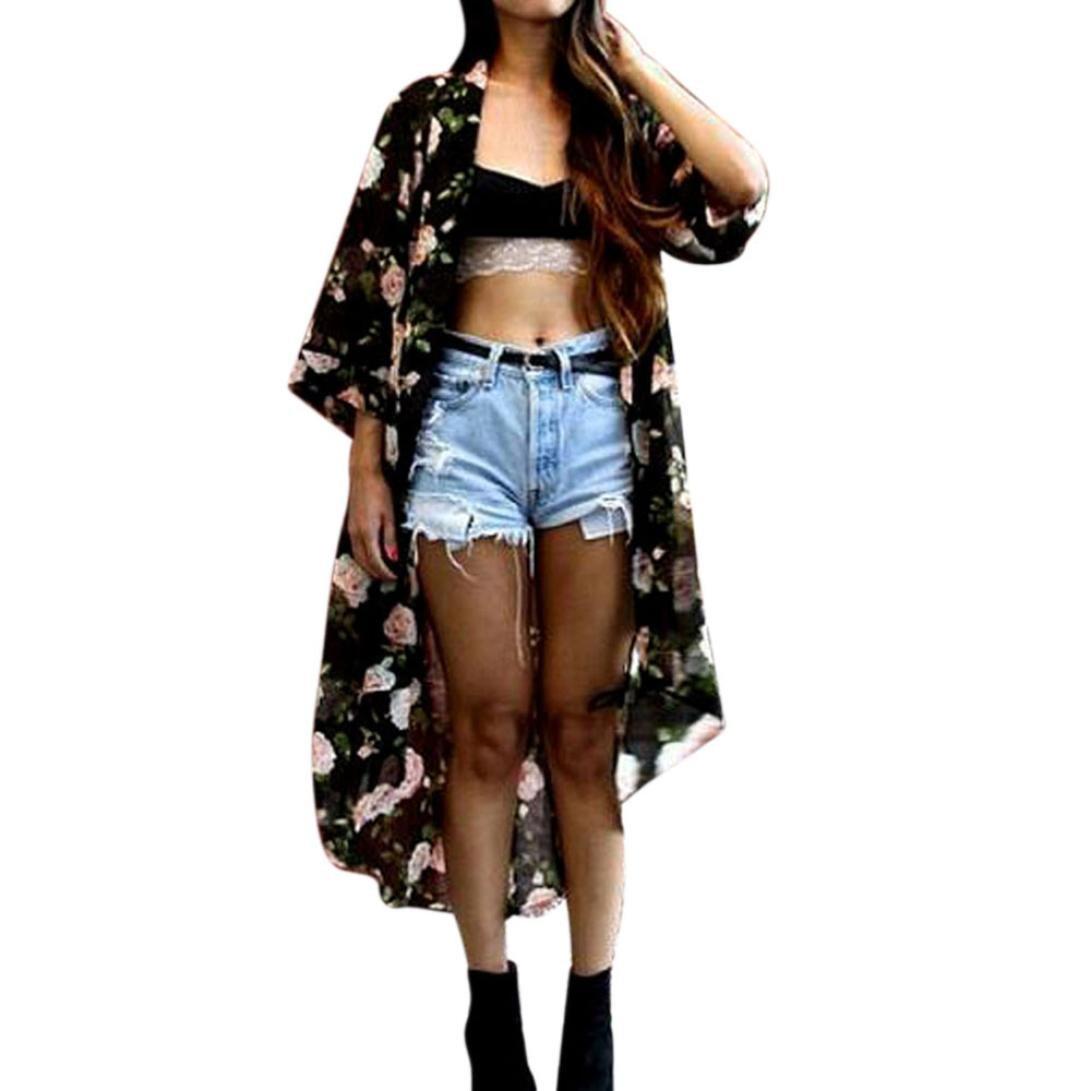 Gotd Women Floral Chiffon Shawl Kimono Cardigan Top Cover up Shirt Blouse