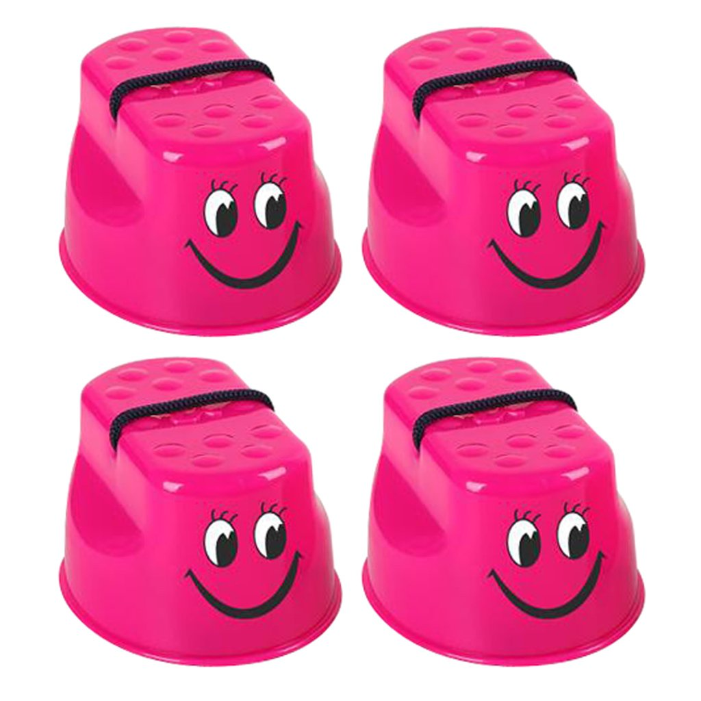 MonkeyJack Pack of 2 Pairs Kids/ Baby Plastic Smiling Face Plastic Walk Stilt Jump Balance Training Garden Lawn Competition Game Toy Rose Red