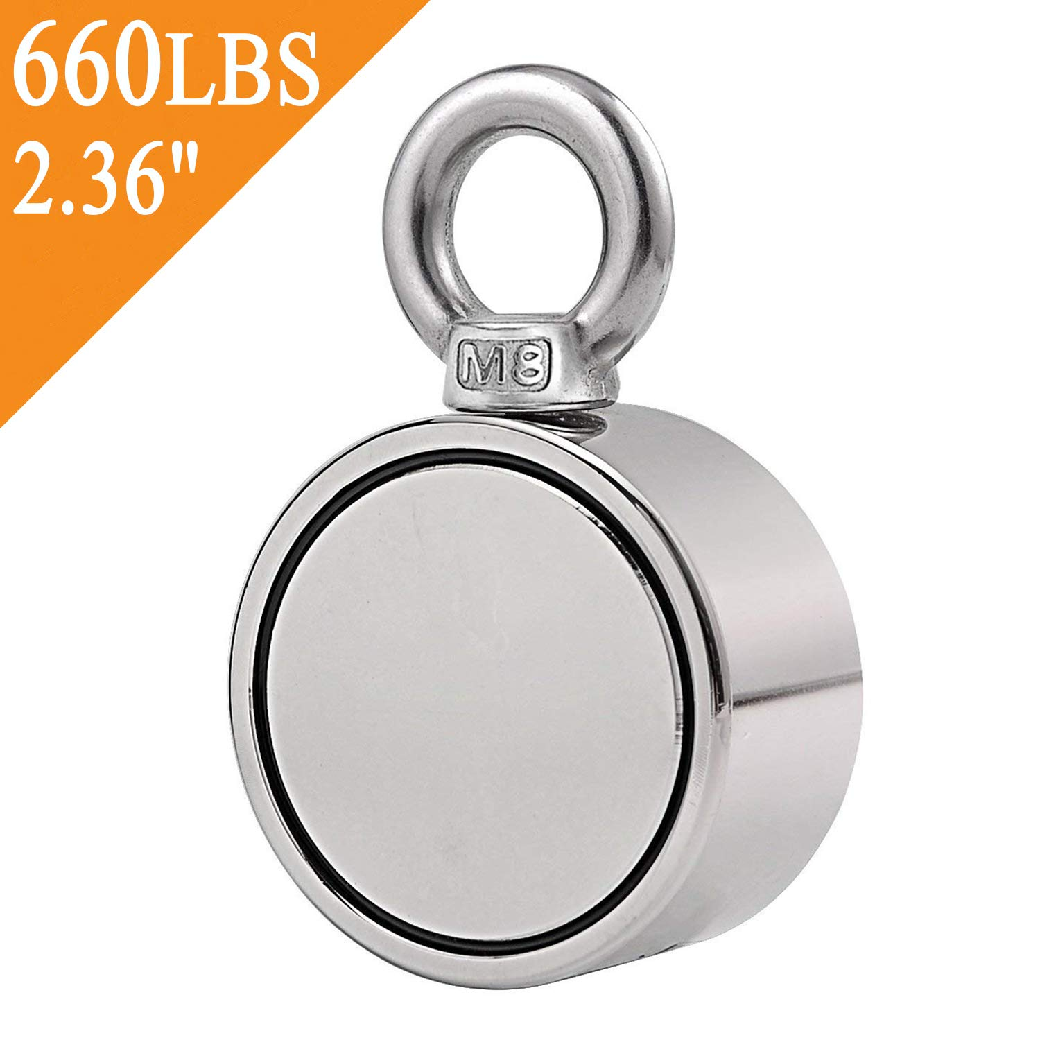 Uolor Double Side Round Neodymium Fishing Magnet, Combined 660 LBS Pulling Force Ultra Strong Neodymium Magnet with Eyebolt for Magnet Fishing and Retrieving in River - 2.36'' Diameter