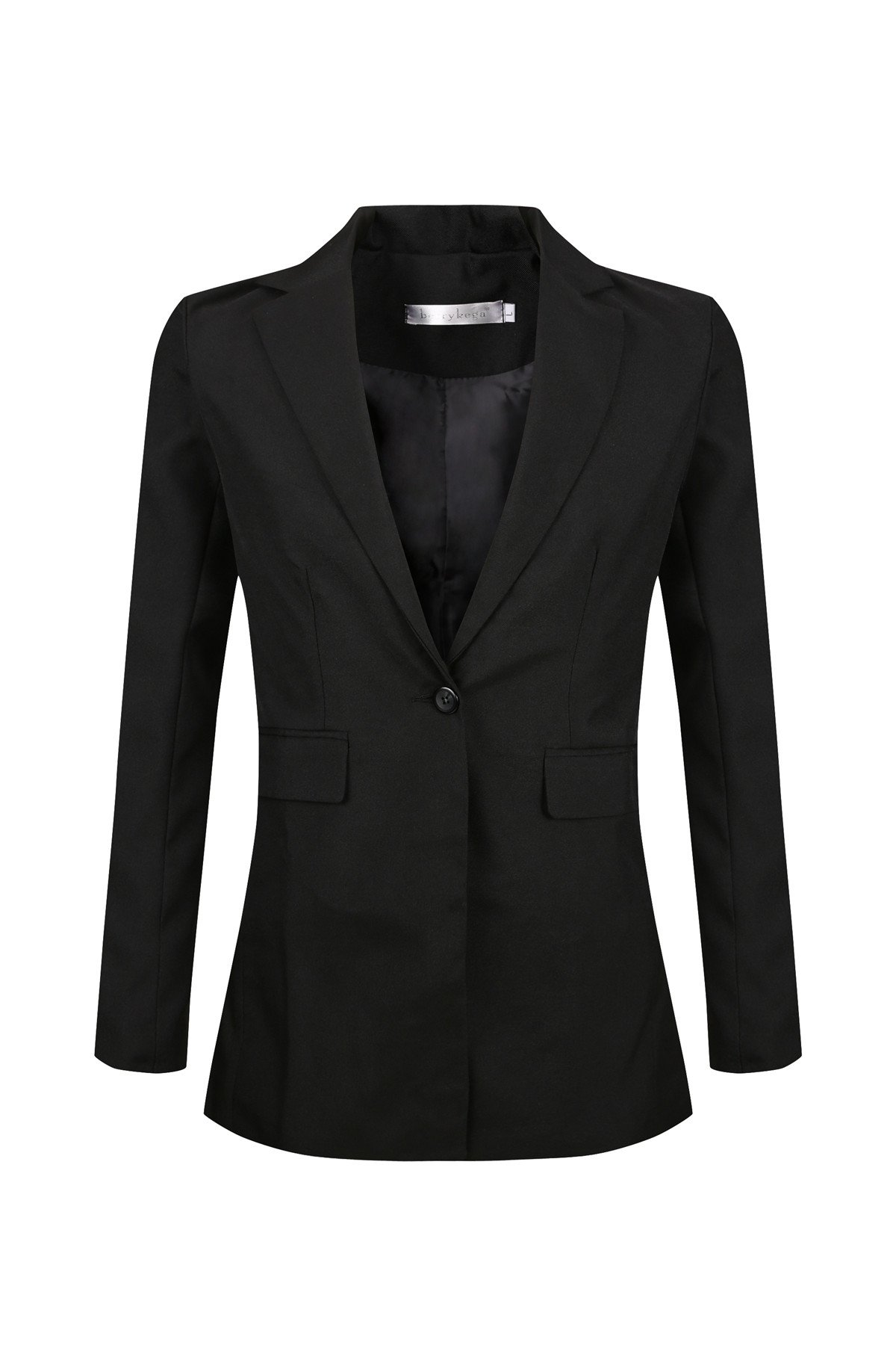 SHUIANGRAN Women's Slim Fit Notch Collar One Button Jacket Office Blazers Black US 10 (tag Asian 3XL)