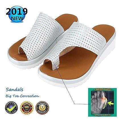 Verano Mujer Sandalias,cómodos Plataformas Plana Charol Zapatillas,Corrector de juanetes ortopédico Casuales Antideslizante