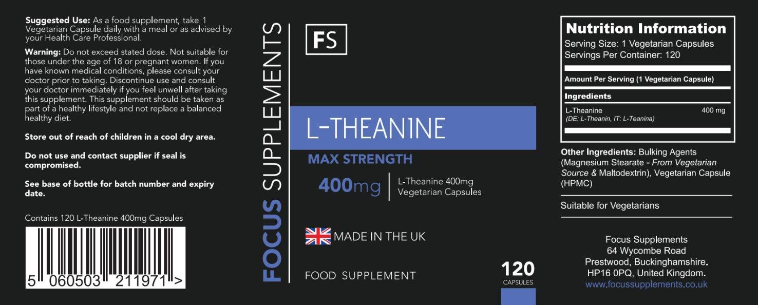 L-Teanina - 400 mg por Cápsula - Mucha Resistencia - 120 Cápsulas Vegetarianas - Cantidad Para 4 Meses - Hecho en el RU, en Instalaciones con ...