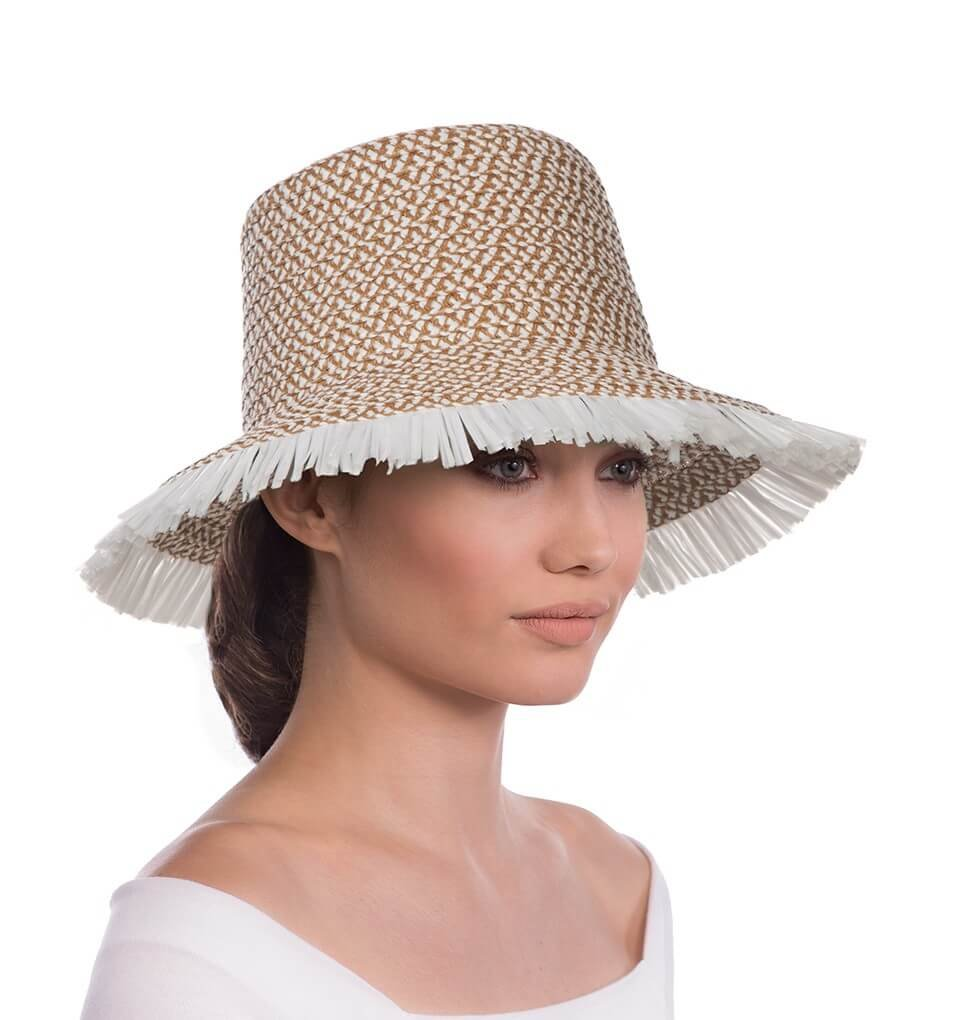 Eric Javits Luxury Fashion Designer Women's Headwear Hat - Tiki Bucket - White Mix by Eric Javits