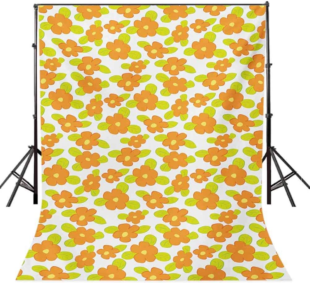 Orange 10x12 FT Photography Backdrop Kids Theme Cute Girlish Pattern with Doodle Flowers and Green Leaves Background for Child Baby Shower Photo Vinyl Studio Prop Photobooth Photoshoot