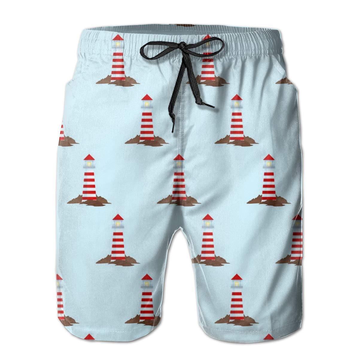 SARA NELL Mens Swim Trunks Ocean Nautical Lighthouse Surfing Beach Board Shorts Swimwear