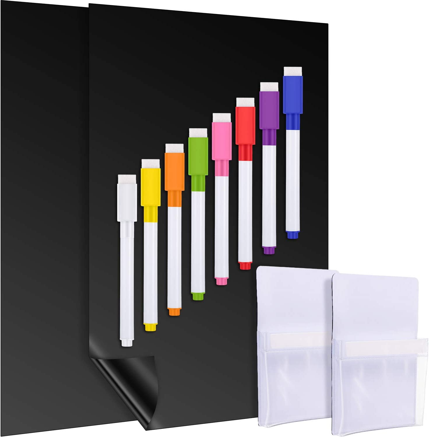 2 Pieces Magnetic Dry Erase Boards with 2 Pieces Magnetic Pen Holders, 8 Pieces Colorful Dry Erase Markers for Office Home School Supplies