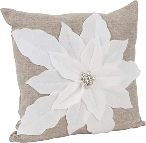 Fennco Styles Christmas Unique 3D Poinsettia Decorative Throw Pillow with Insert 17 x 17 Inch – White Flower Pillow for Everyday Use, Couch, Living Room and Bedroom D cor