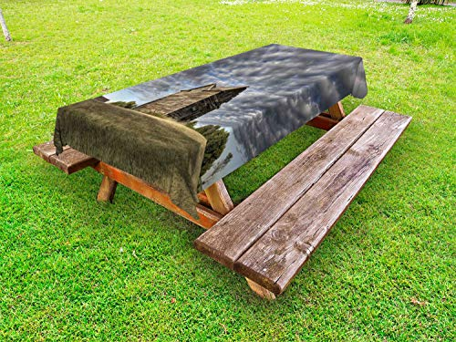 (Lunarable Farmhouse Outdoor Tablecloth, Abandoned Land Saskatchewan Canada at Sunset and Prairie View Dark Cloudy Sky, Decorative Washable Picnic Table Cloth, 58 X 120 Inches, Multicolor)
