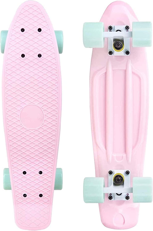 57cm ZHURGN Beginners skateboard for Kids and Beginners Translucent plastic penny board 22 Mini Cruiser Skateboard Color : Blue X6 15cm