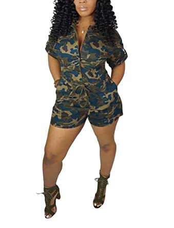 599ad302369dd LROSEY Women's Sexy Short Sleeve V Neck Button Down Jumpsuit Summer Camo  High Waisted Skinny Shorts
