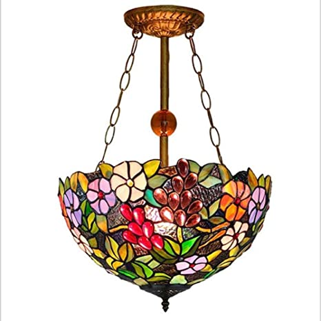 Tiffany Style Chandelier Vintage Stained Glass Grape Flower Pendant Lamps  E27 Iron Chain Light Fixture 16 - Tiffany Style Chandelier Vintage Stained Glass Grape Flower Pendant