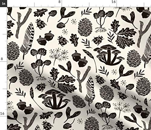 Spoonflower Fall Fabric - Autumn Nature Leaves Acorns Linocut Block Print by Andrea Lauren Printed on Petal Signature Cotton Fabric by The Yard ()