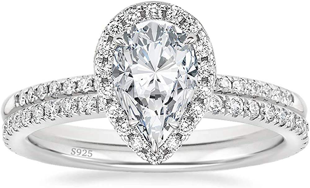 EAMTI 1.25CT 925 Sterling Silver Wedding Bands Pear Teardrop Bridal Rings Sets Cubic Zirconia Halo CZ Engagement Rings for Women Promise Rings for her Size 4-11
