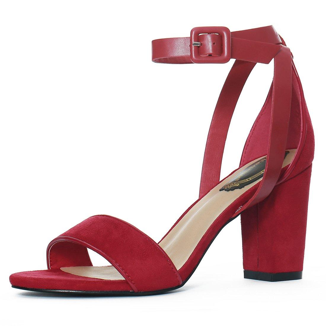 f69e1a206c73 Allegra K Women s PU Panel Chunky Heel Sandals g16080900ux0019 ...