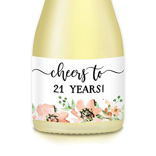 Womans 21st BIRTHDAY Party Ideas Decorations Supplies Mini Wine Bottle Decals Set Of 20 Peach Floral Watercolor Champagne Labels Her Twenty First
