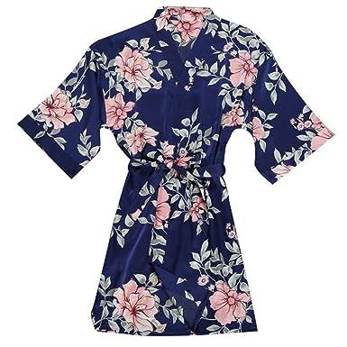 0440518fc0832 KPILP Peignoir Satin Robe de Chambre Kimono Femme Sortie de Bain Nuisette  Déshabillé Vêtements de Nuit