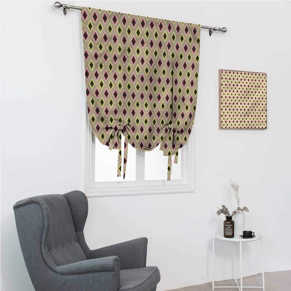 """Drapes for Bedroom Retro Room Darkening Roman Shades Old Fashion Fractal Forms 39"""" Wide by 64"""" Long"""