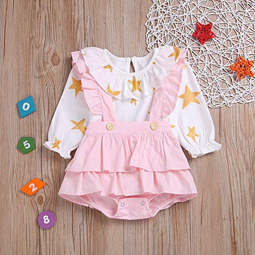 HESHENG Baby Girl Dress Newborn Cartoon Star Ruffle Romper Long Sleeve Strap Skirt Infant Jumpsuit Clothes Outfits Set (110(2-3Y), Pink)